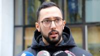 El raper Valtònyc atenent els mitjans de comunicació a Brussel·les, el passat 26 de novembre