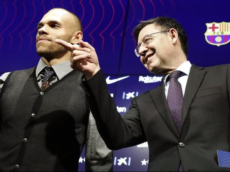 Josep Maria Bartomeu, amb Martin Braithwaite