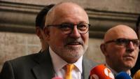 L'exconseller Lluís Puig durant una atenció als mitjans després de la vista per l'euroordre, a Brussel·les el 24 de febrer