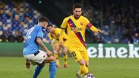 Leo Messi encara  Di Lorenzo. L'argentí no va poder marcar en el temple de Maradona