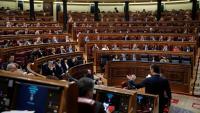Pedro Sánchez, de peu, a la sessió de control al Congrés dels Diputats