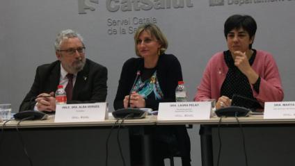Joan Guix, secretari de Salut Pública; la consellera de Salut, Alba Vergés; i la secretària Laura Pelay, a la reunió amb tots els Departaments el 26 de febrer de 2020