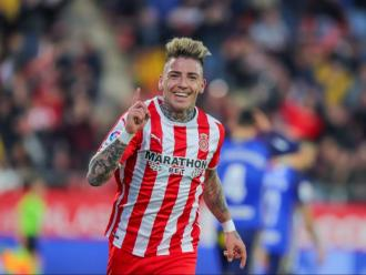 Brandon Thomas celebra el seu primer gol amb la samarreta del Girona