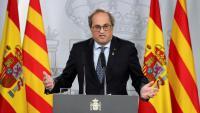 El president Quim Torra durant la roda de premsa posterior a la primera reunió de la taula de diàleg entre el govern i la Generalitat a La Moncloa
