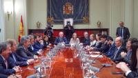 Un moment de la reunió d'avui del ministre de Justícia, Juan Carlos Campo amb els membres del CGPJ