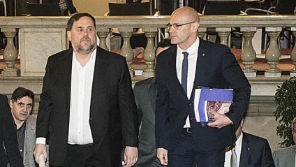 Oriol Junqueras i Raül Romeva, el passat 31 de gener al Parlament