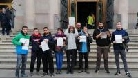 Nou de les 12 persones jutjades , al Palau de Justícia, on van protestar el 2018, ahir