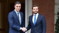 Sánchez i Casado a la reunió mantinguda el 17 de febrer de 2020