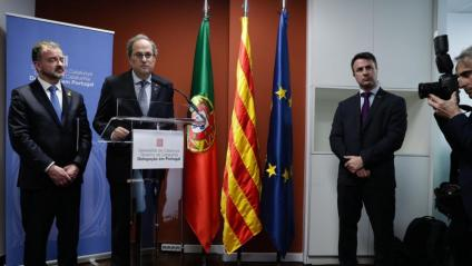 El president de la Generalitat, Quim Torra, durant la inauguració ahir de la delegació de la Generalitat a Lisboa