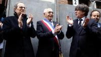 El president de la Generalitat, Quim Torra; l'alcalde de Perpinyà, Jean-Marc Pujol, i l'eurodiputat Carles Puigdemont