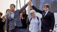 Comín, Ponsatí i Puigdemont durant l'acte celebrat recentment a Perpinyà