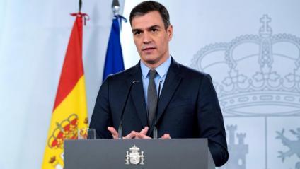 El president del govern espanyol , Pedro Sánchez, durant la compareixença que va fer ahir a la tarda a La Moncloa