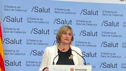 La consellera de Salut, Alba Vergés, en la roda de premsa per explicar l'evolució de la pandèmia del 29 de març