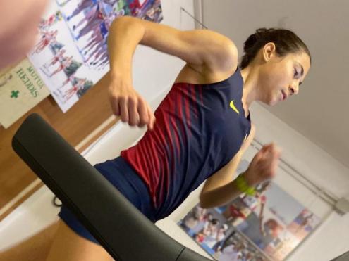 Marta Galimany , en la cursa que va disputar diumenge per recaptar fons per lluitar contra el coronavirus