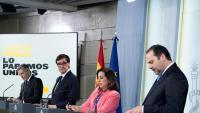 El ministre Illa, escoltant la intervenció del seu homòleg de Transports i Mobilitat, José Luis Ábalos