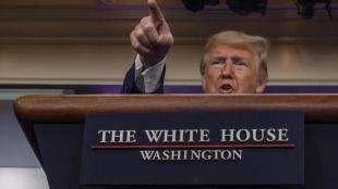 Donald Trump, president dels EUA, en una sessió informativa sobre la crisi del coronavirus