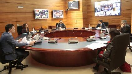 Foto del Consell de Ministres per fer seguiment de la crisi del coronavirus d'avui