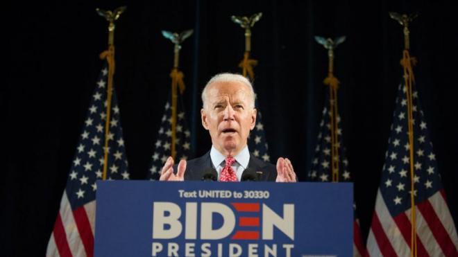 Joe Biden, en una conferència de premsa a l'hotel Du Pont de Wilmington