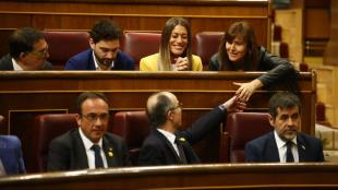 Els presos Rull, Turull i Sànchez, amb altres diputats de JxCat al Congrés dels Diputats