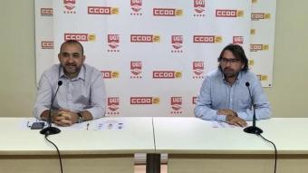 Javier Pacheco de CCOO i Camil Ros d'UGT en una imatge d'arxiu