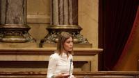 La coordinadora general de Catalunya en Comú, Jéssica Albiach, durant una intervenció en un ple del Parlament