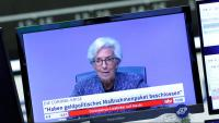 Imatge de la presidenta del BCE, Christine Lagarde, que compareix telemàticament