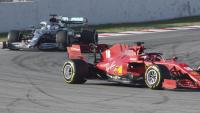 Leclerc i Hamilton en un test de pretemporada
