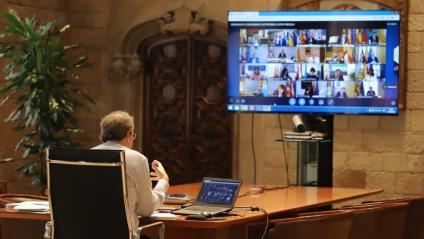 El president Torra en l'onzena trobada telemàtica amb Sánchez i els presidents de la resta de comunitats