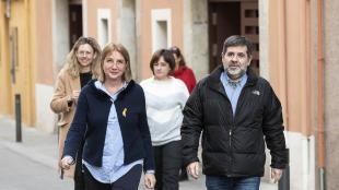 Jordi Sànchez el 25 de febrer, el primer dia que va sortir del penal per fer voluntariat en la Fundació Canpedró