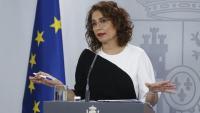 La portaveu del govern espanyol i ministra d'Hisenda, María Jesús Montero, durant la roda de premsa posterior al consell de ministres d'aquest dimarts