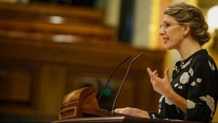 La ministra de Treball, Yolanda Díaz, durant el debat al Congrés del decret que permet allargar els ERTO