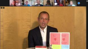 Un instant de la roda de premsa telemàtica feta ahir per Sandro Rosell amb periodistes