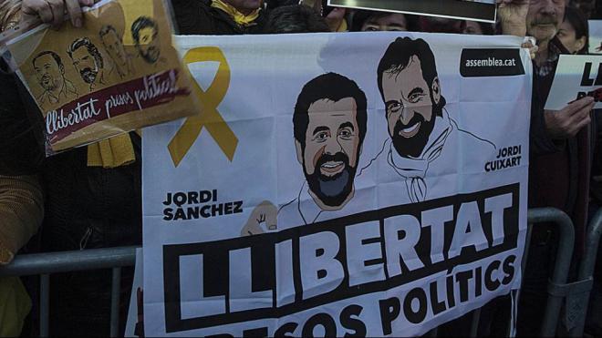 Imatge d'una manifestació de 2018 reclamant la llibertat dels Jordis