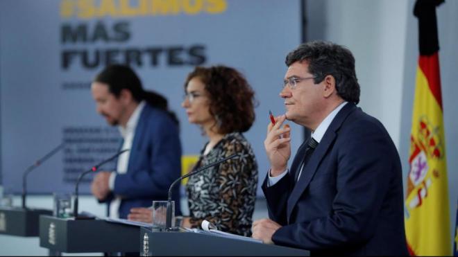 Iglesias, Montero i Escrivá, a la roda de premsa després del Consell de Ministres
