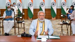 El primer ministre indi, Narendra Modi, en una videconferència