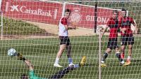 Una acció de l'entrenament del Girona de divendres