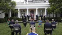 Trump, en roda de premsa als jardins de la Casa Blanca, divendres