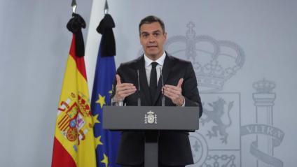 Sánchez va comparèixer ahir a La Moncloa després de la videoconferència de presidents per anunciar una pròrroga final de l'estat d'alarma fins al 21 de juny