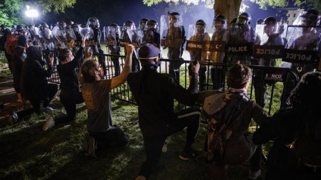 Imatge de les protestes a Washington la nit passada