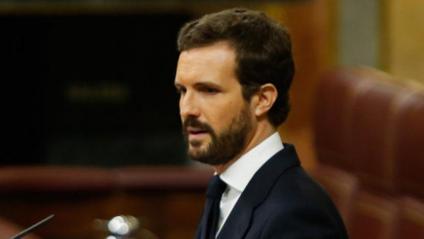 El líder del PP, Pablo Casado, durant el debat d'aquest dimecres al Congrés dels Diputats