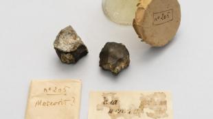 Els dos fragments de meteorit pesen 50 i 34 grams.