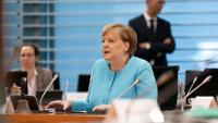 La cancellera alemanya, Angela Merkel, durant la reunió de govern, celebrada ahir a Berlín