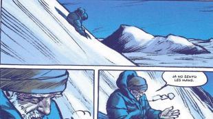 Seqüència de vinyetes de la novel·la gràfica 'El llop', en què el protagonista, un pastor que viu aïllat a les muntanyes, té una singular relació amb el llop que es cruspeix el ramat