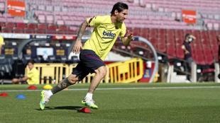 Messi, en l'entrenament d'avui