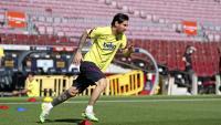 Leo Messi i Luis Suárez en la sessió preparatòria ahir al Camp Nou
