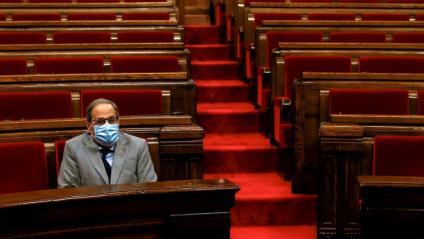 El president, Quim Torra, ahir durant el ple monogràfic sobre la pandèmia
