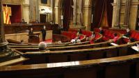 Un moment del debat al ple del Parlament aquest divendres