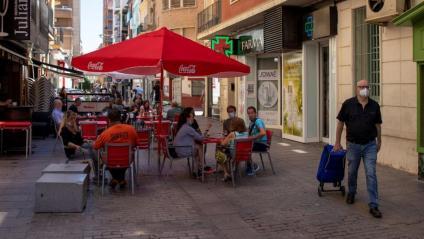 Ambient en un dels carrers de Lleida aquest dissabte