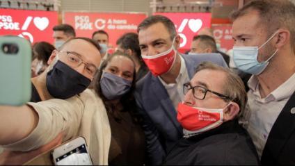 El president espanyol, Pedro Sánchez, en el míting de la Corunya