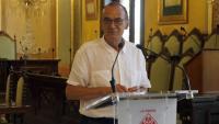 L'alcalde de Lleida, Miquel Pueyo durant la compareixença per valorar l'anunci de confinar el Segrià